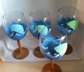 Hand Painted Set of 4 Beach Wine Glasses