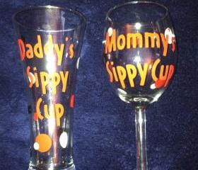 Mommy Daddy Sippy Cup Glassware Set