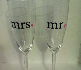 Set of Mr. and Mrs. Champagne Glasses with Hearts