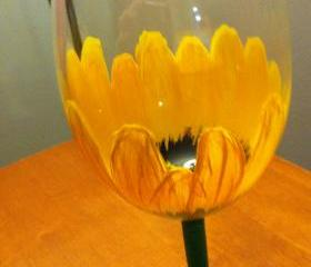 Hand Painted Sunflower Wine Glass