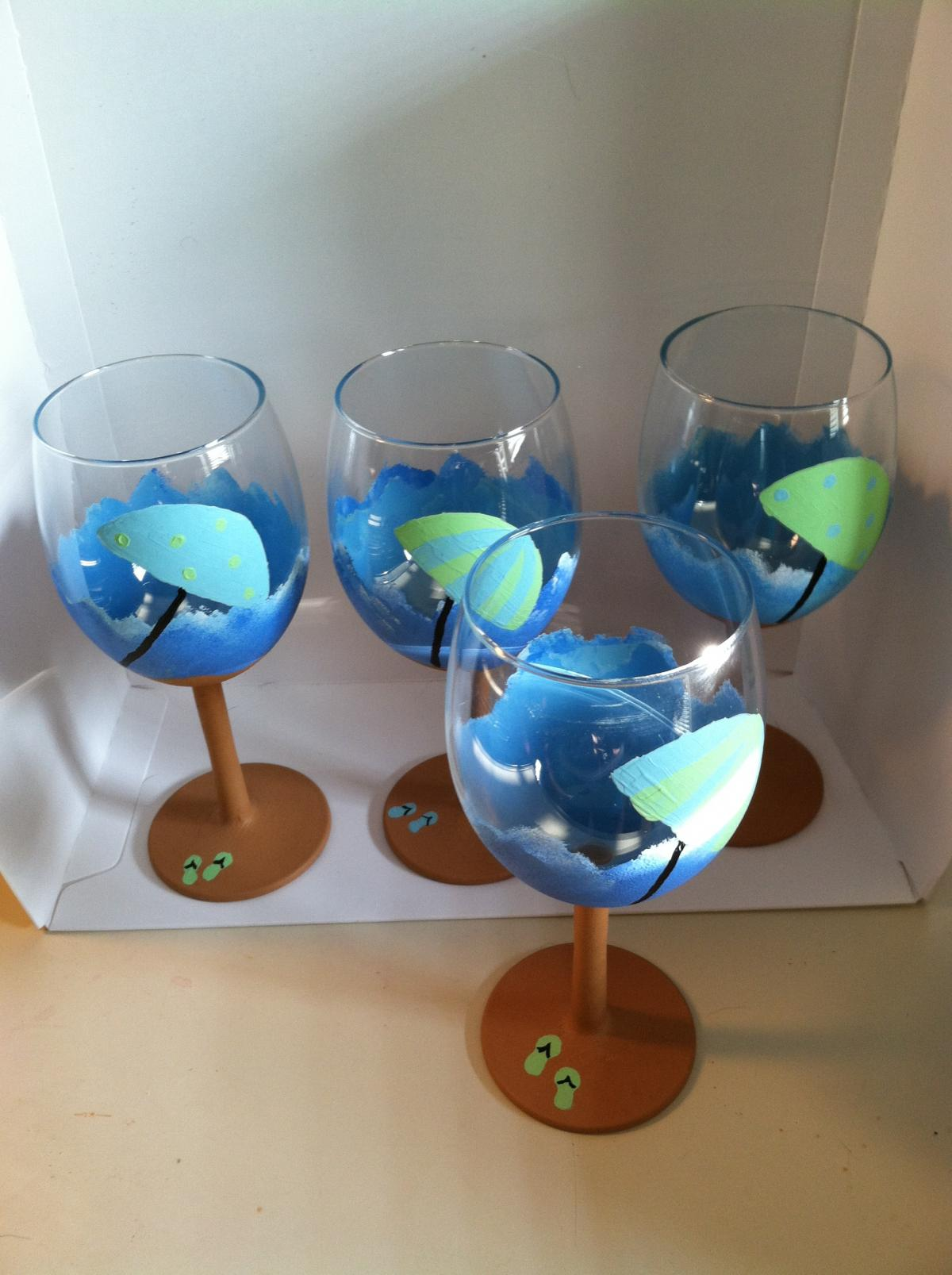 Beach Scene Painted Wine Glasses